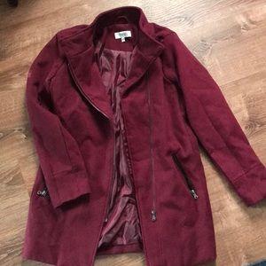 Maroon trench coat